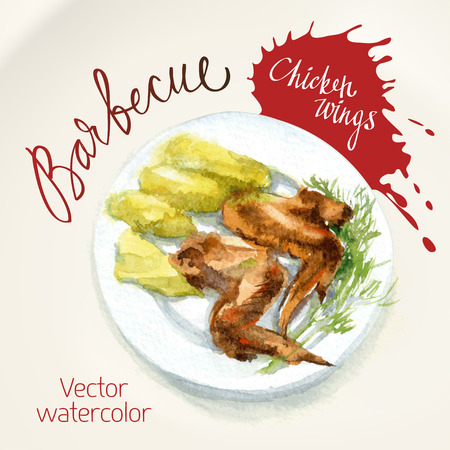 side dish: Vector watercolor sketch. Chicken wings a grill with a side dish of boiled potatoes Illustration