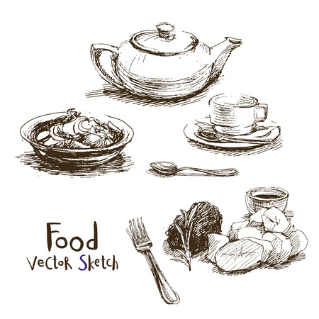 Vector set of sketches of food and dishes