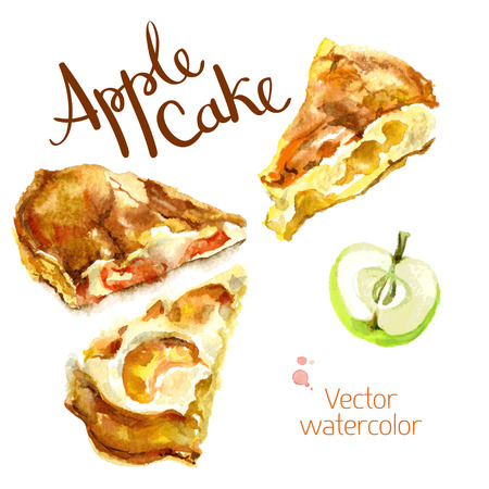 Vector watercolor sketch. Slices of apple cake and apple