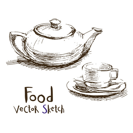 Vector set of sketches of food and dishes Illustration