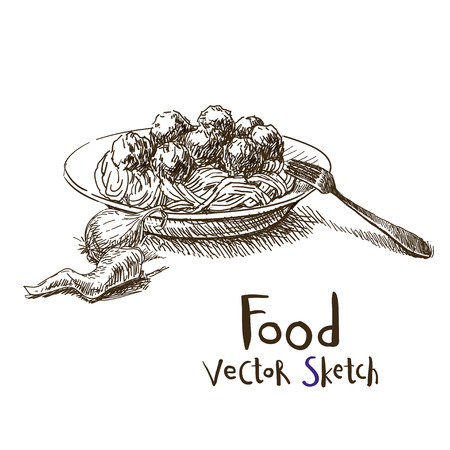 Vector vintage sketch plate with meatballs and spaghetti Illustration