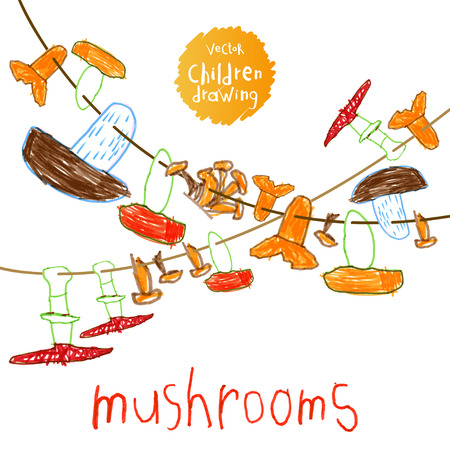 crayons: Vector illustration. A naive drawing style imitating childs drawing. Set mushrooms