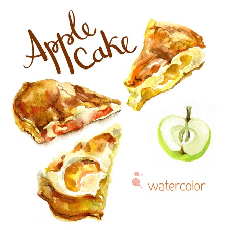 Watercolor sketch. Slices of apple cake and apple