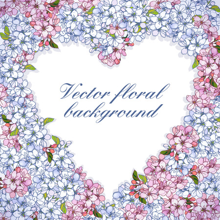 Vector floral frame with heart-shaped, composed of flowers apple