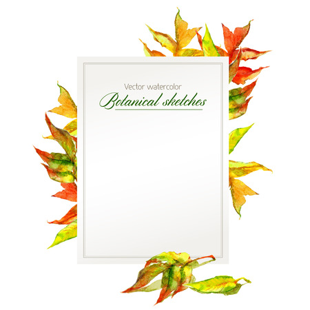 Template for congratulations or announcement with autumn leaves Illustration