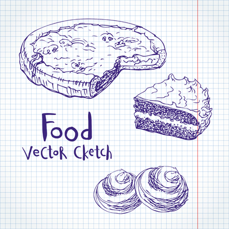 farinaceous: Vector sketch on notebook sheet. Pastries, cakes, pies and buns Stock Photo
