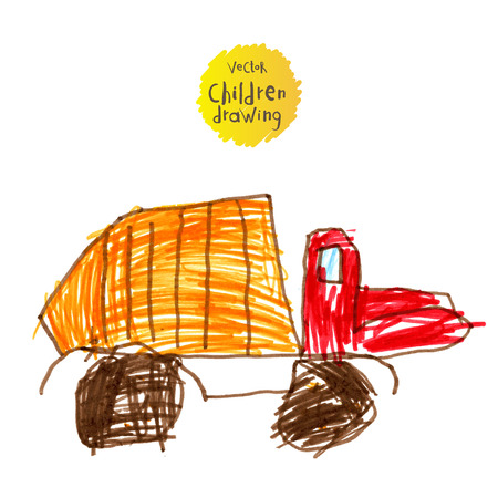 Vector illustration. A naive drawing style imitating childs drawing.Heavy-duty truck