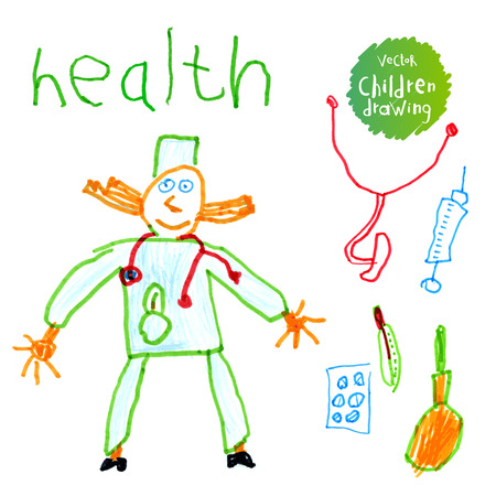 Vector illustration. A naive drawing style imitating childs drawing. Doctor and medical supplies