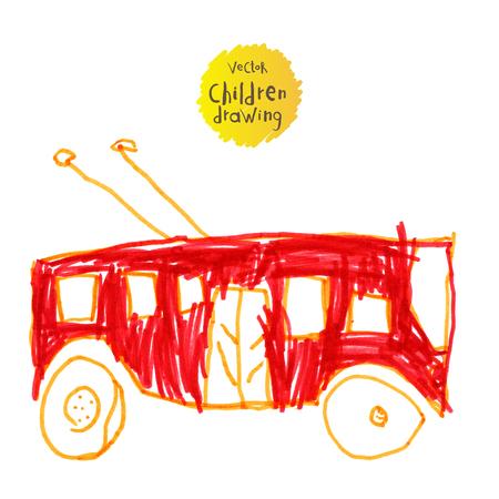 imitating: Vector illustration. A naive drawing style imitating childs drawing. Trolley bus