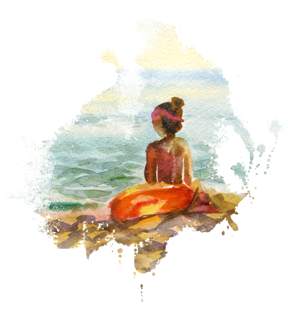 panoramas: Watercolor seascape with girl