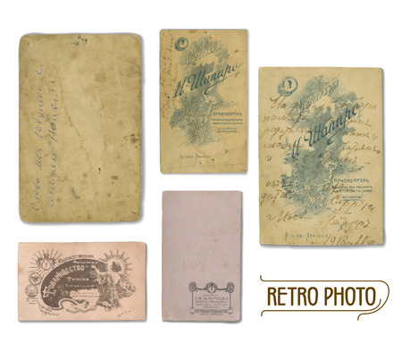 reverse: Set of vector traces of ancient photos from the early 20th century