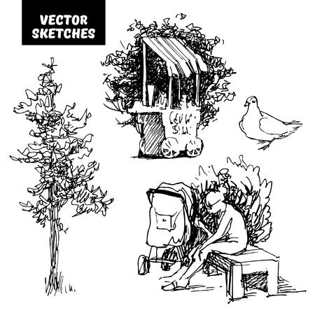 Ensemble de croquis vectoriels Banque d'images - 88370947
