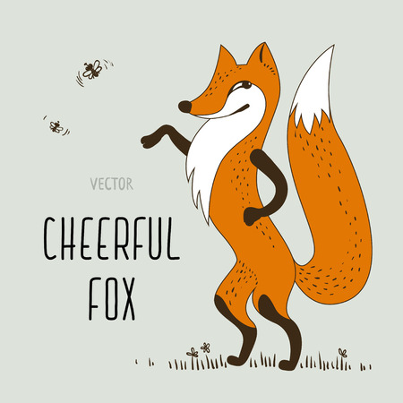 Vector cartoon cheerful fox Фото со стока - 88193453
