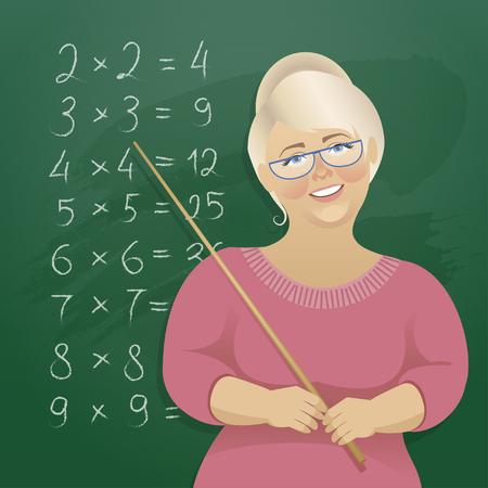 A woman teacher at the blackboard Illustration