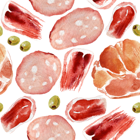 Watercolor seamless pattern of meat delicacies and olives Stock Photo