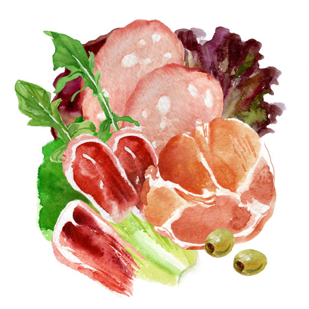 Watercolor still life from meat delicacies and greens
