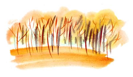 Watercolor landscape. Etude of the orange autumn grove Stock Photo