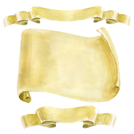 Watercolor background. A set of scrolls of old yellowed paper