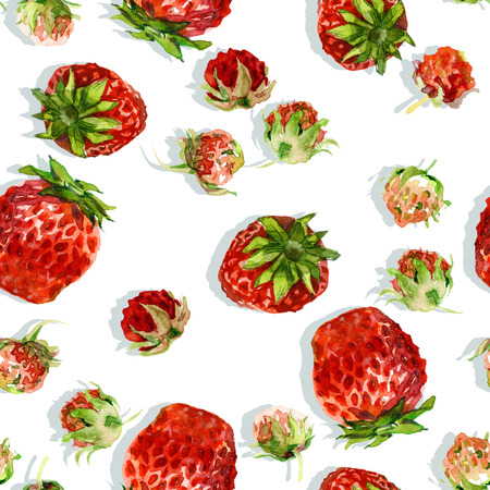 Watercolor seamless pattern with wild and garden strawberries