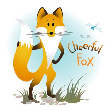 Vector cartoon cheerful fox