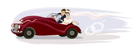 Vektor-Illustration. Jungvermählten, die in ein Retro- Auto der Hochzeit fahren.