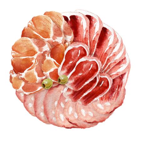 Watercolor food. Meat delicacies