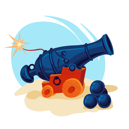 Vector image. Pirate cannon preparing for a shot Vectores