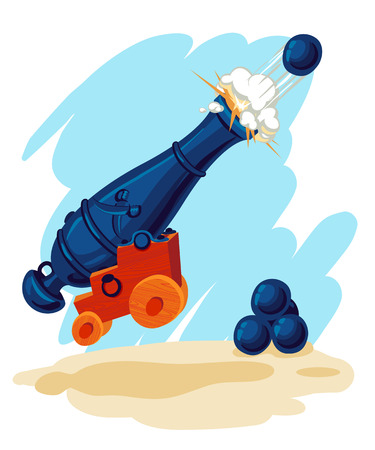 Vector image of a pirate gun at the moment of a shot