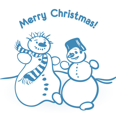Vector Christmas illustration with two dancing snowmen