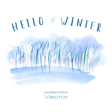 Vector watercolor illustration of winter trees in snow