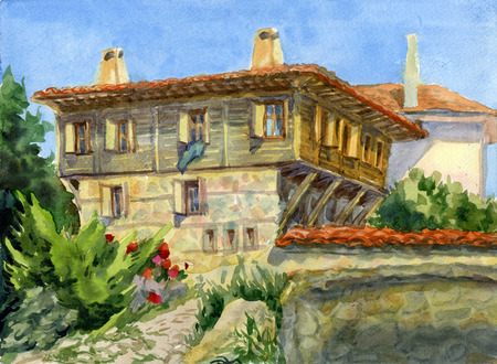 Watercolor illustration of the old town. Houses with tiled roofs. Stock Illustration - 120440771