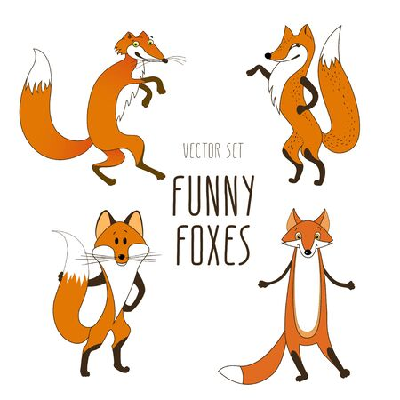 Vector set cartoon characters. The naively depicted fox.