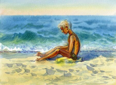 Watercolor illustration. Sketches from nature in the summer holidays by the sea. Boy on the beach sand