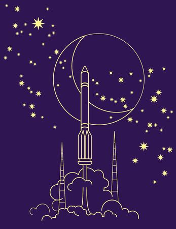 Vector space ornament. Simple outline drawing of a rocket launch 스톡 콘텐츠
