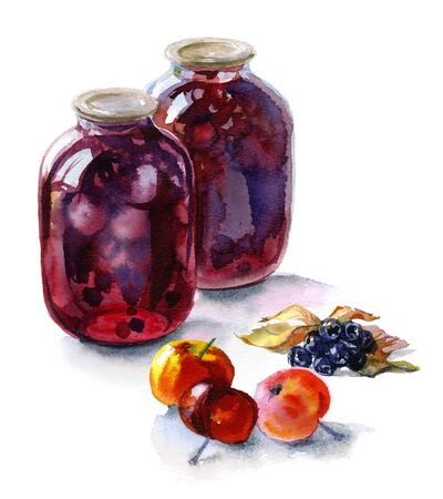 Watercolor still-life from fruits and cans of drink