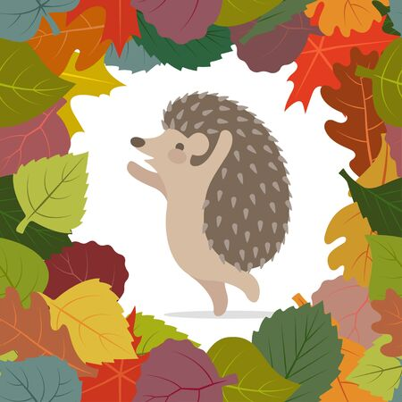 Vector image of autumn leaves and hedgehog