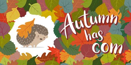 Vector image of an autumn hedgehog framed from leaves