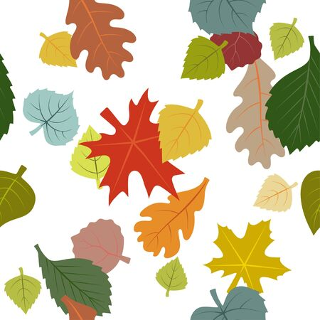 Vector seamless pattern of falling autumn leaves