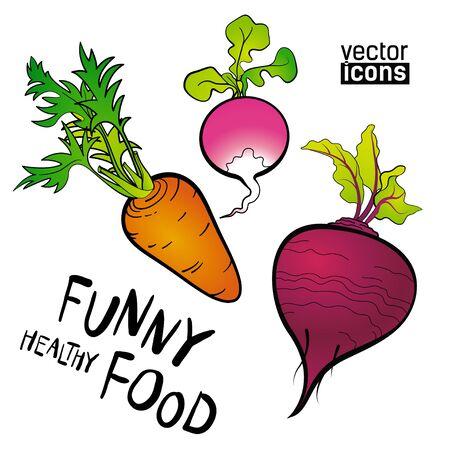 Set of vector icons naive funny food