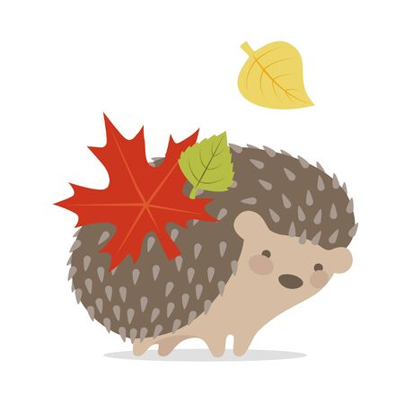 Vector image of a cute hedgehog on a white background. Hedgehog with leaves on the back smiling Imagens