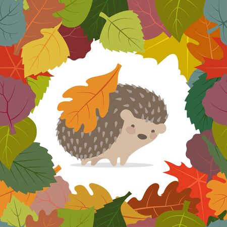 Vector seamless frame from colorful autumn leaves.  Hedgehog on a white background with leaves on the back Imagens