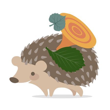 Vector image of a cute hedgehog on a white background. Hedgehog with leaves and mushroom on the back smiling Imagens