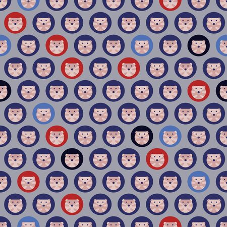 Vector seamless pattern of hedgehogs in a restrained color scheme Imagens
