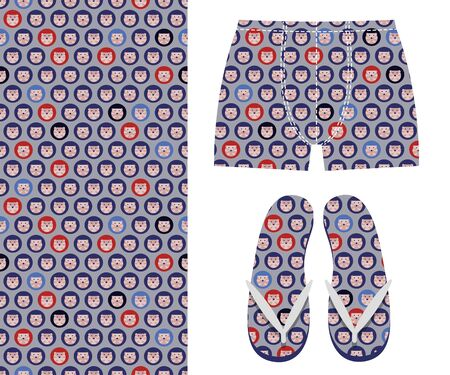 Vector seamless pattern of hedgehogs and examples of its application. Mens boxer briefs and slippers Imagens
