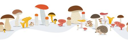 Vector seamless pattern of forest mushrooms on a white background