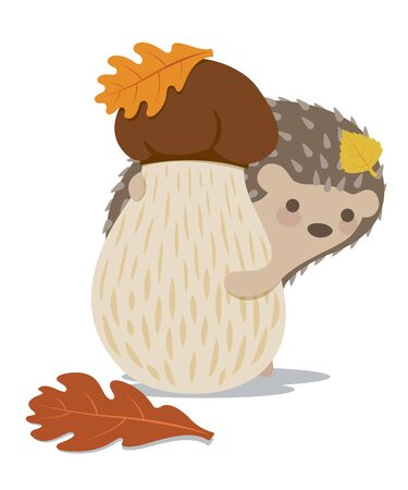 Vector image of a cute hedgehog on a white background. Hedgehog peeps from behind a mushroom