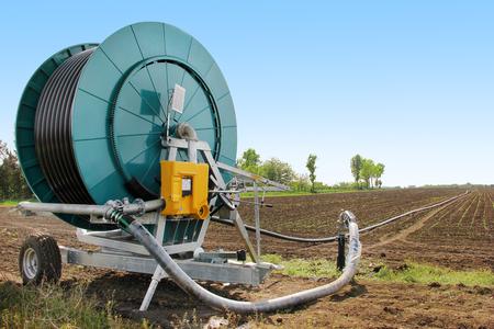 irrigation field: Irrigation machine in the field