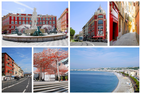 nice france: Collage of Nice on the south coast of France Stock Photo