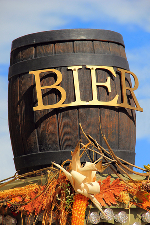 bier festival: Wooden barrel of beer at Oktoberfest in Germany