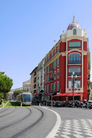 tramway: NICE, FRANCE, AUGUST 2014. - Tramway in the Nice square called Place Massena